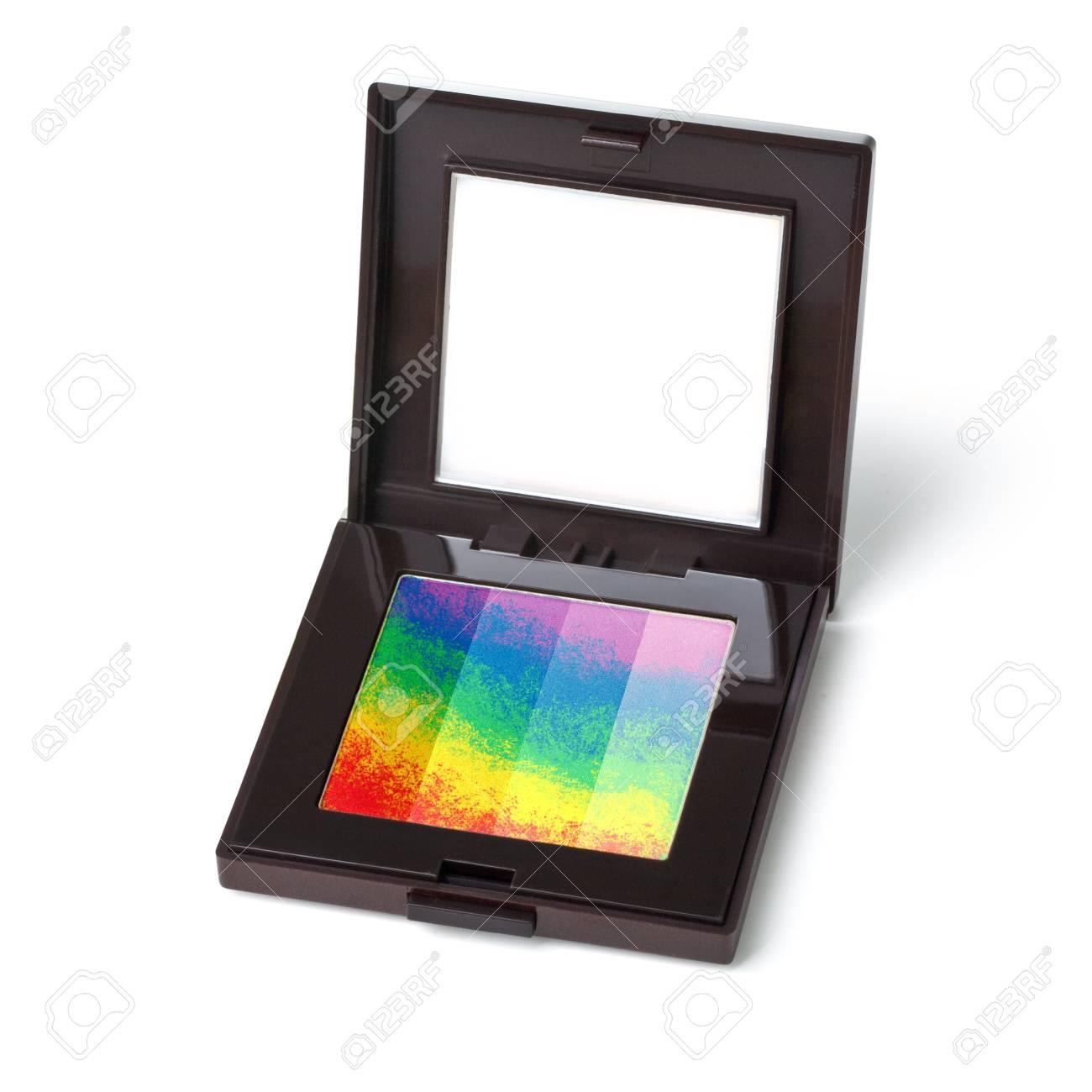 multicolored eye shadows isolated on white background Stock Photo - 18803802