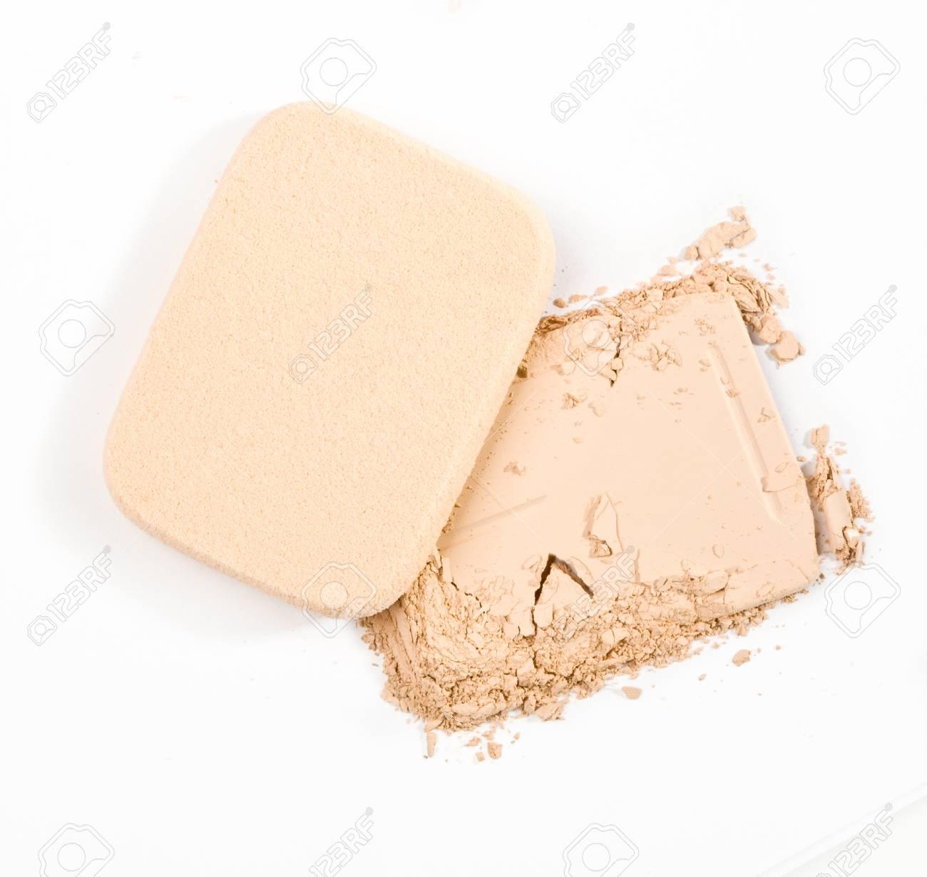 make-up powder on white background Stock Photo - 19128506