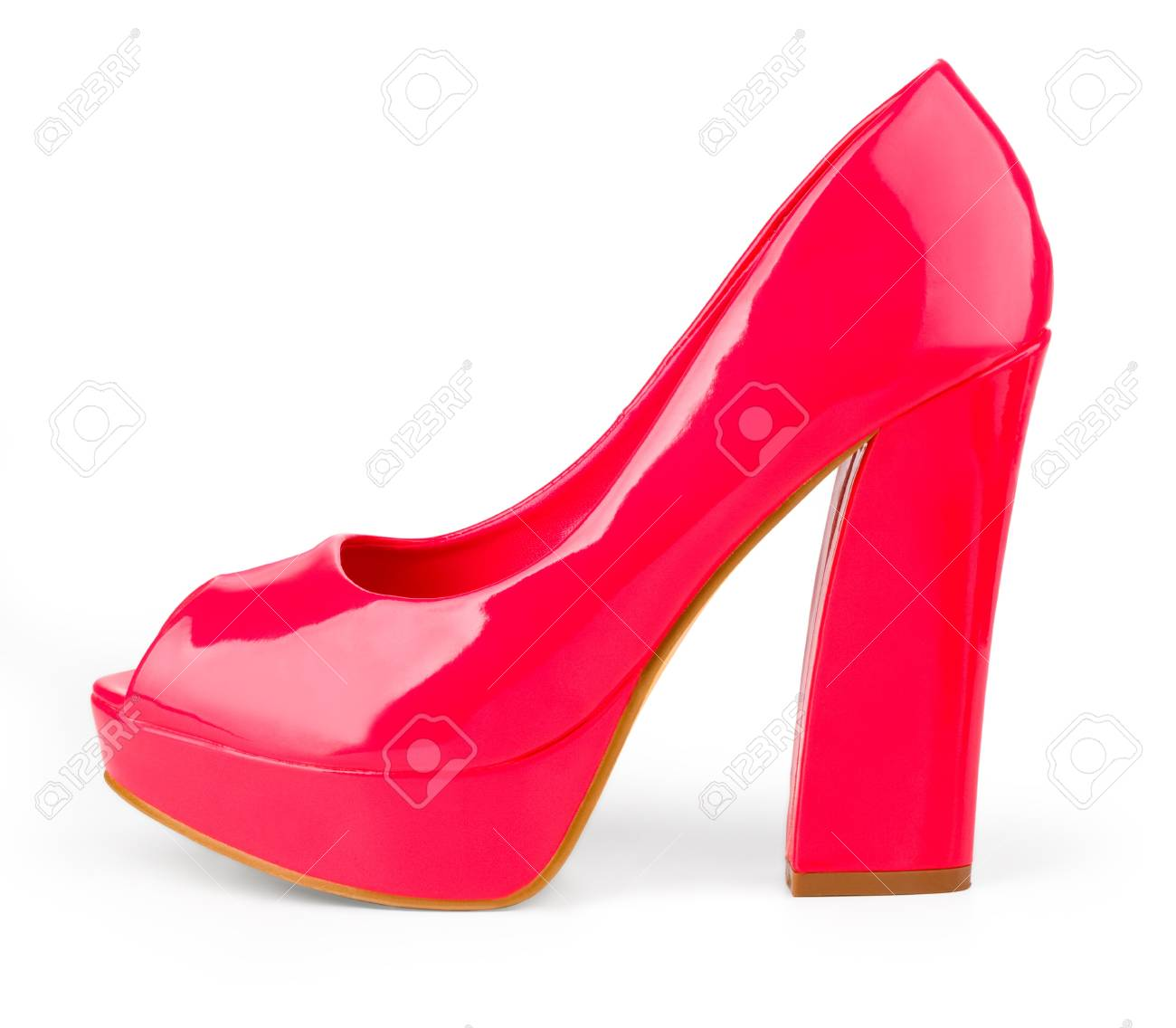 665826ec23 High Heels with inner platform sole, red patent leather Stock Photo -  20984321