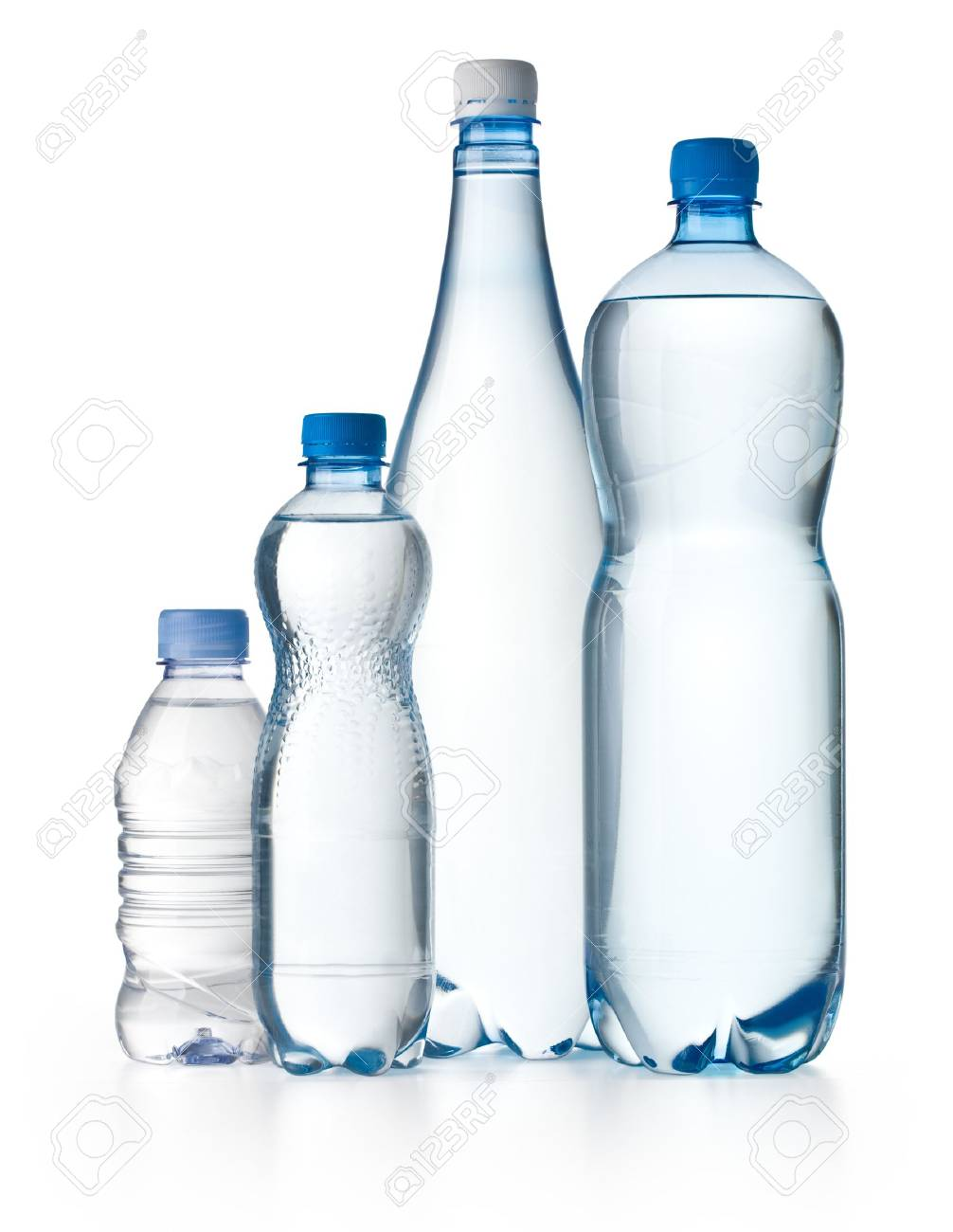Different water bottles isolated on white Stock Photo - 20984327