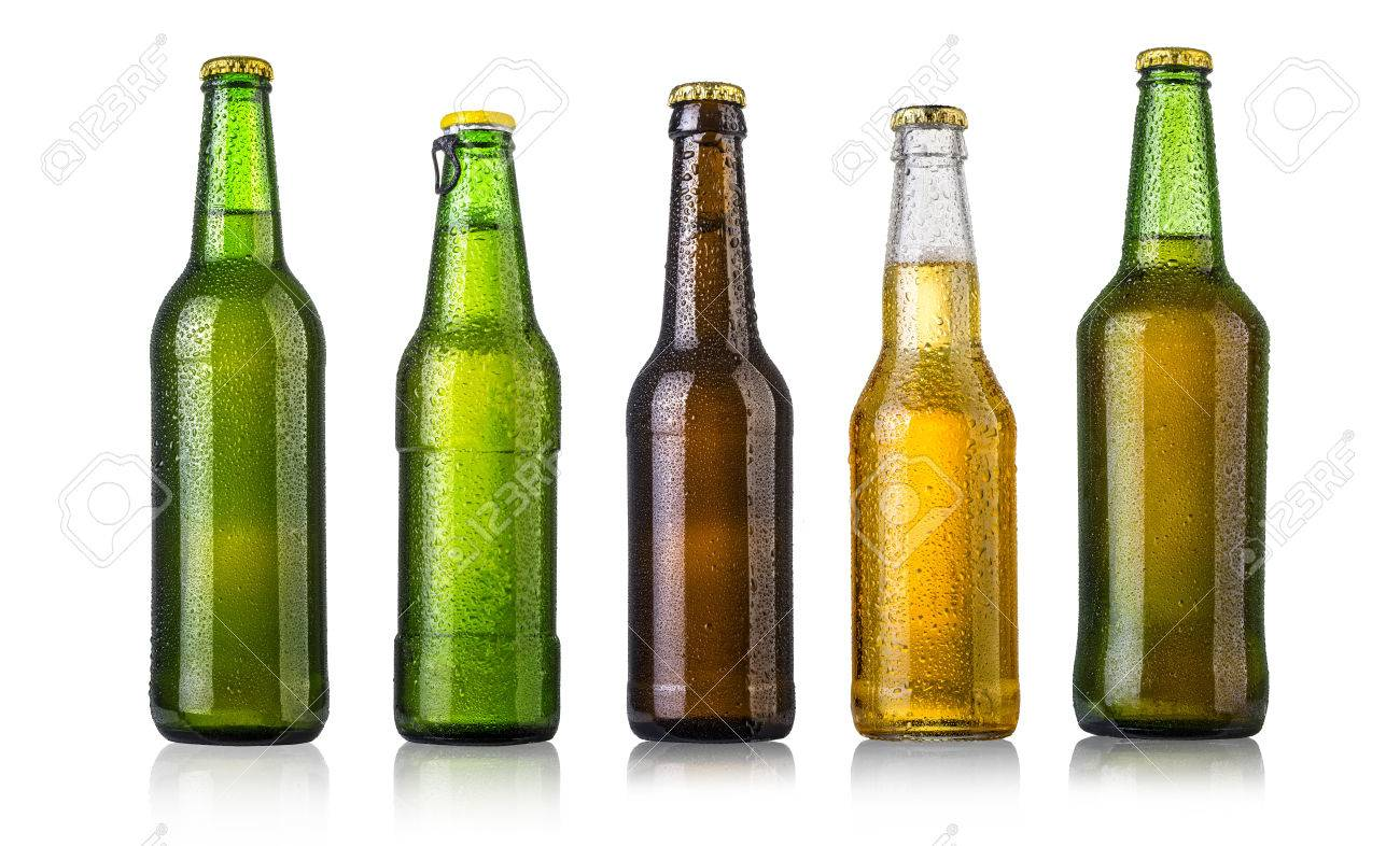 set of Beer bottles with water drops on white background.Five separate photos merged together. - 45559240