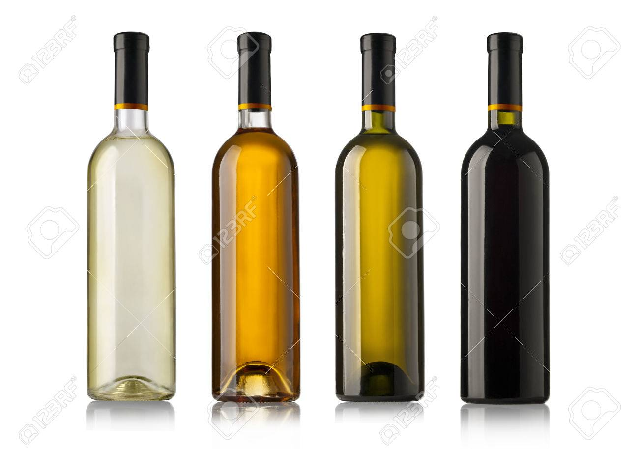 Set of white, rose, and red wine bottles. isolated on white background - 45559241
