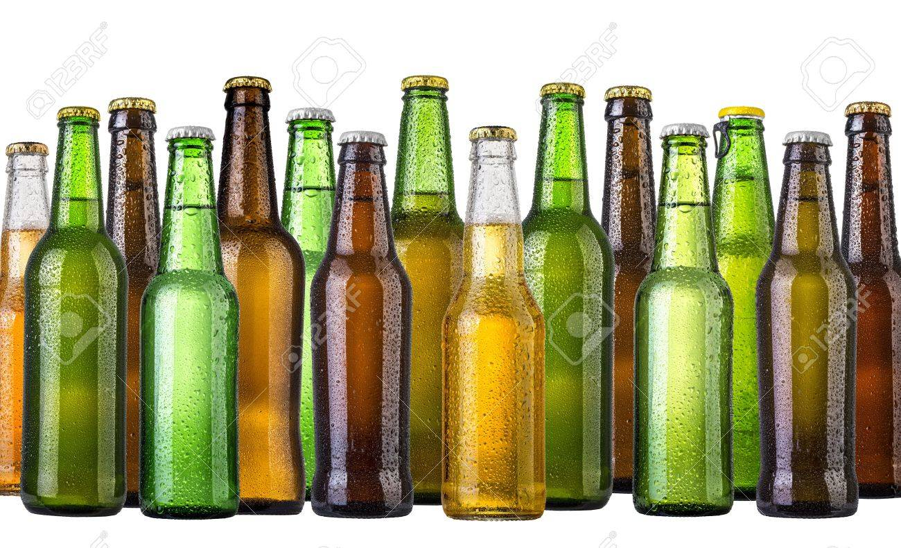 set of Beer bottles with water drops anbd beer glasses on white background.Five separate photos merged together. - 46797109