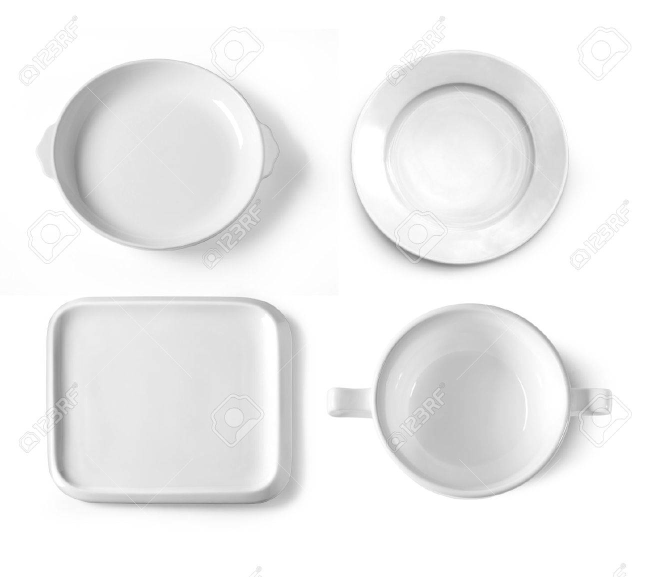 different plates isolated on white background - 47856171