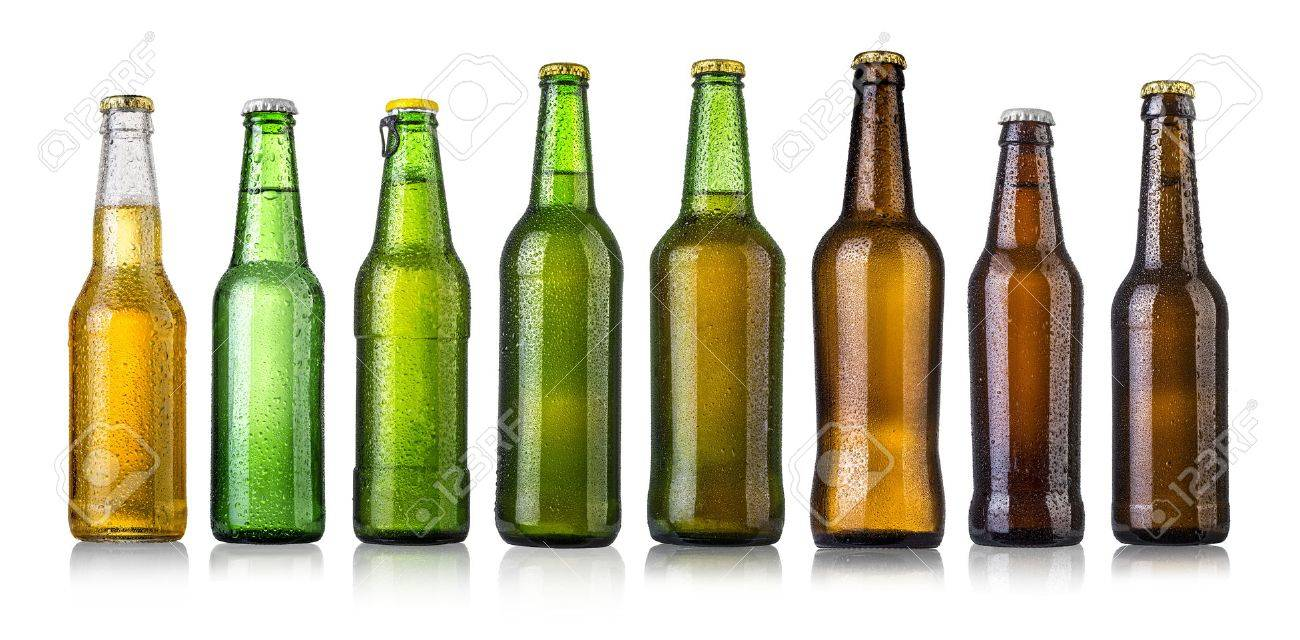 set of Beer bottles with water drops on white background.Five separate photos merged together. - 47856213