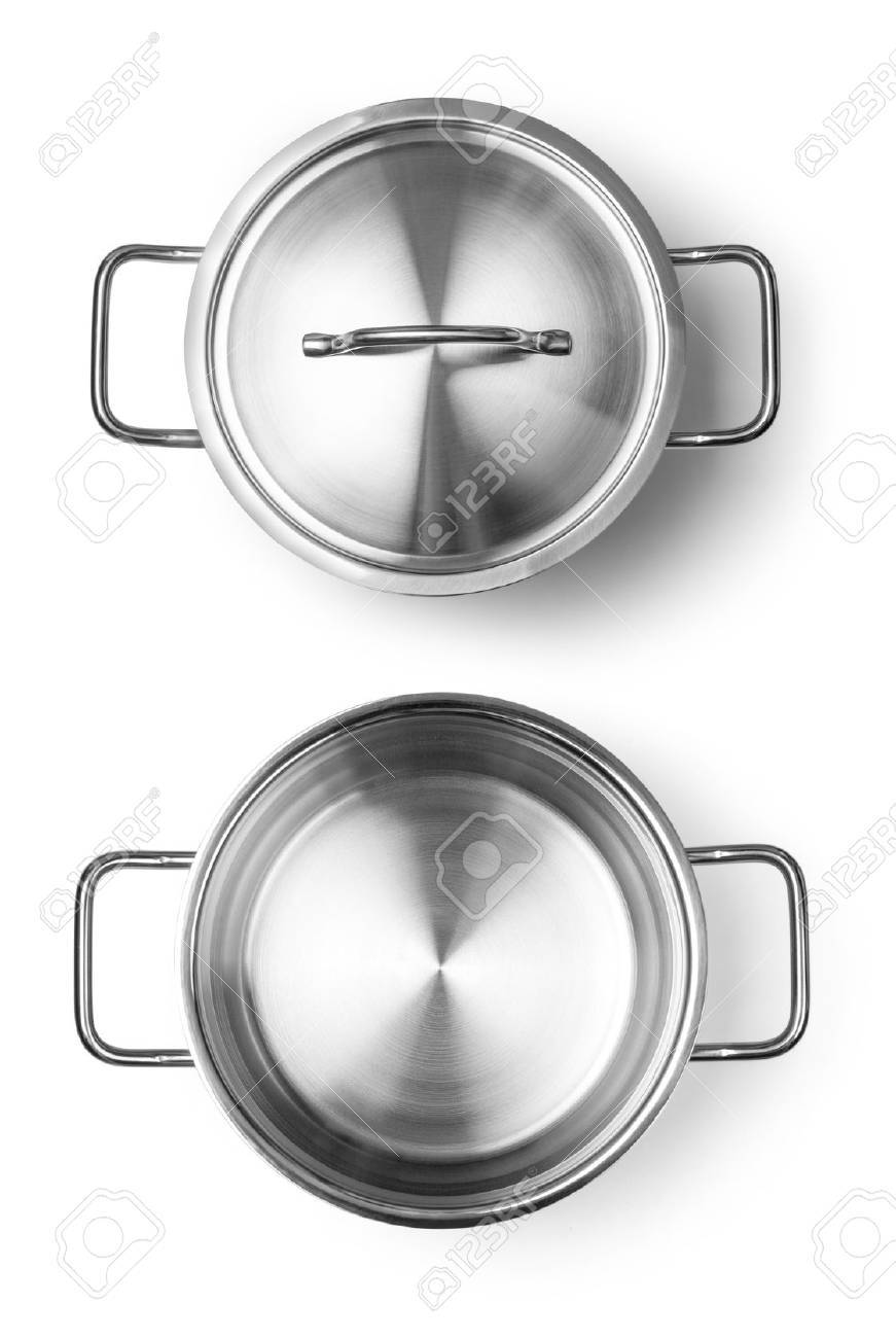 Stainless steel pot without cover. Isolated on white background - 47856250