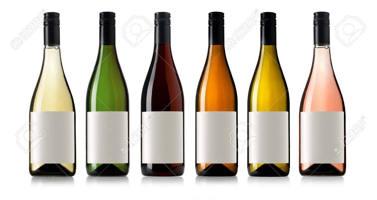 Set 6 bottles of wine with white labels isolated on white background. - 47856258
