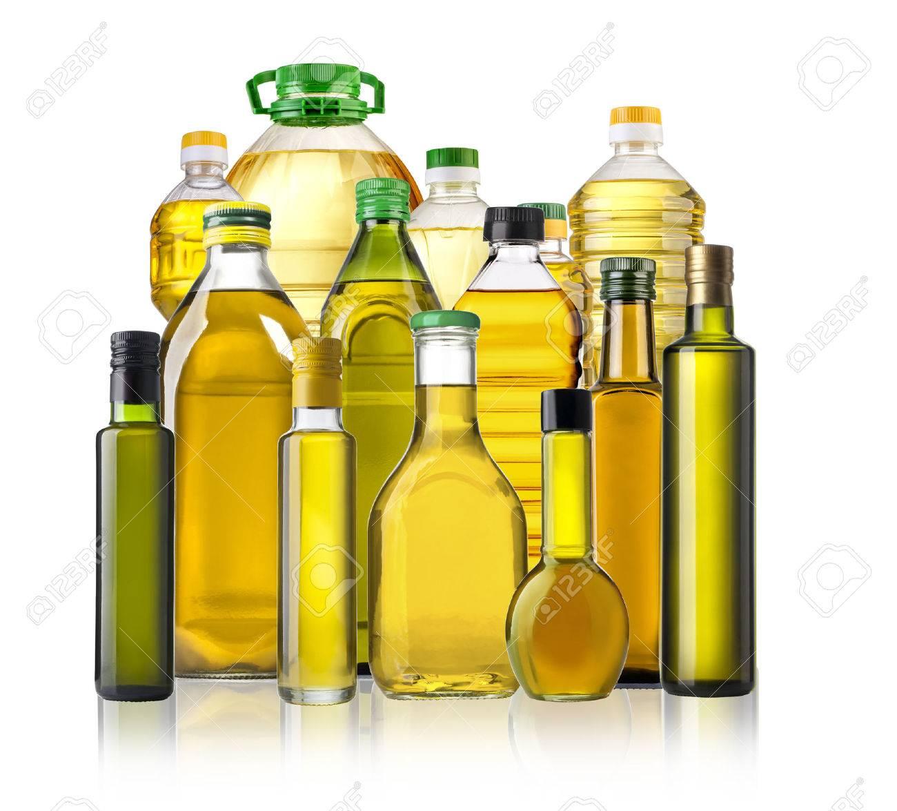 Olive oil bottles isolated on white background - 47856369