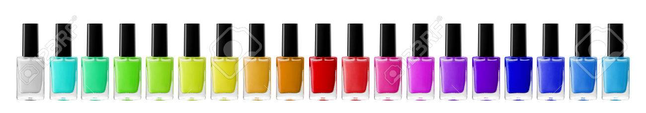 Group of bright nail polishes isolated on white - 48877755