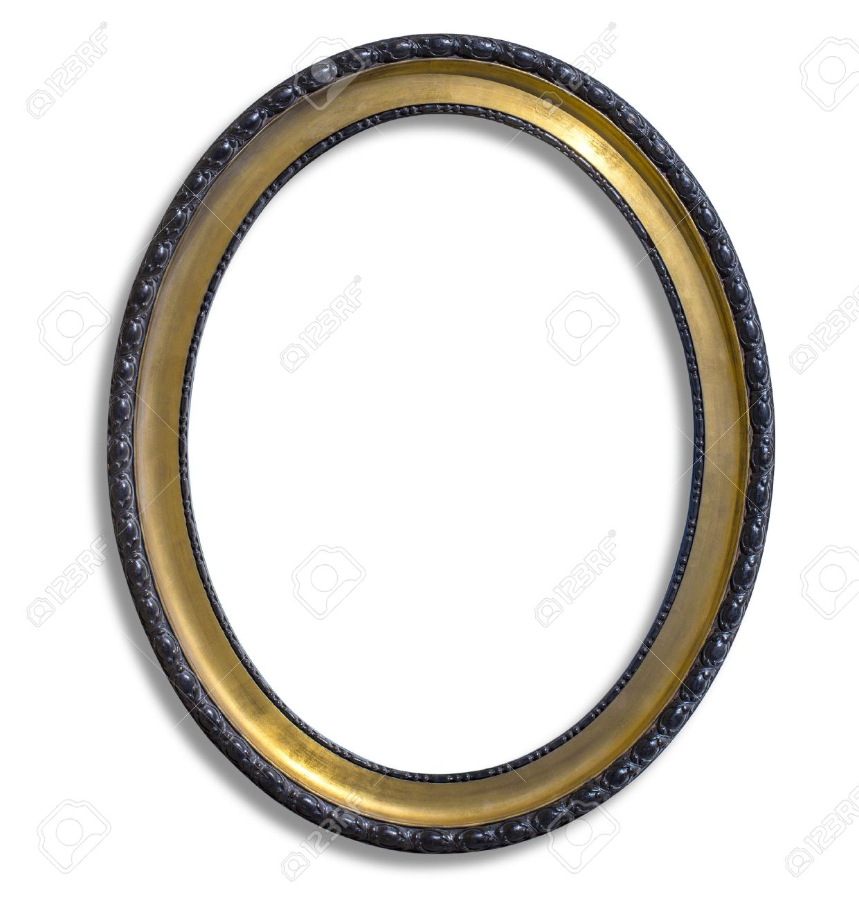 oval gold picture frame. Isolated over white with clipping path - 49131757