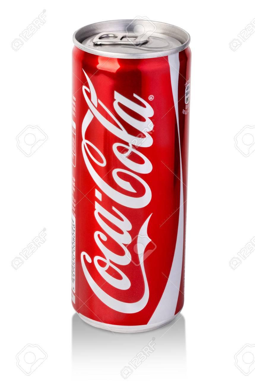 CHISINAU, MOLDOVA - November 14, 2015: coca cola can on white background. coca cola flavored soft drink created by Coca-Cola company.With clipping path - 51774340