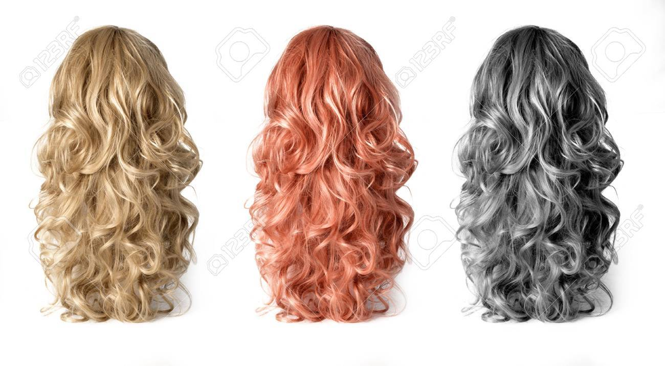 Set of long Wigs hair isolated on white - 51789391