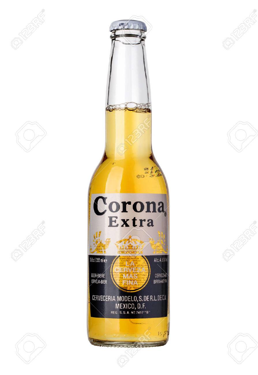 CHISINAU, MOLDOVA - January 04, 2016: Photo of a bottle of Corona Extra Beer. Corona, produced by Grupo Modelo with Anheuser Busch InBev, is the most popular imported beer in the US. - 52229691