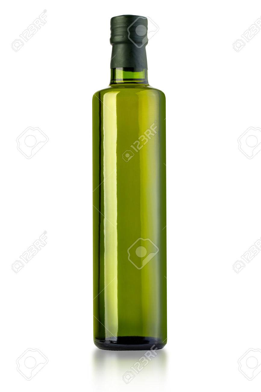 bottle of virgin olive oil on a white ground, pack shots.with clipping path - 54639885