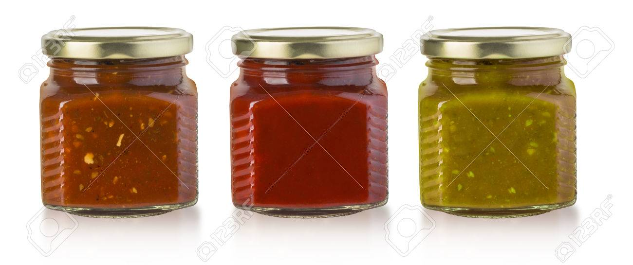 the various barbecue sauces in glass bottles with clipping path - 54643666