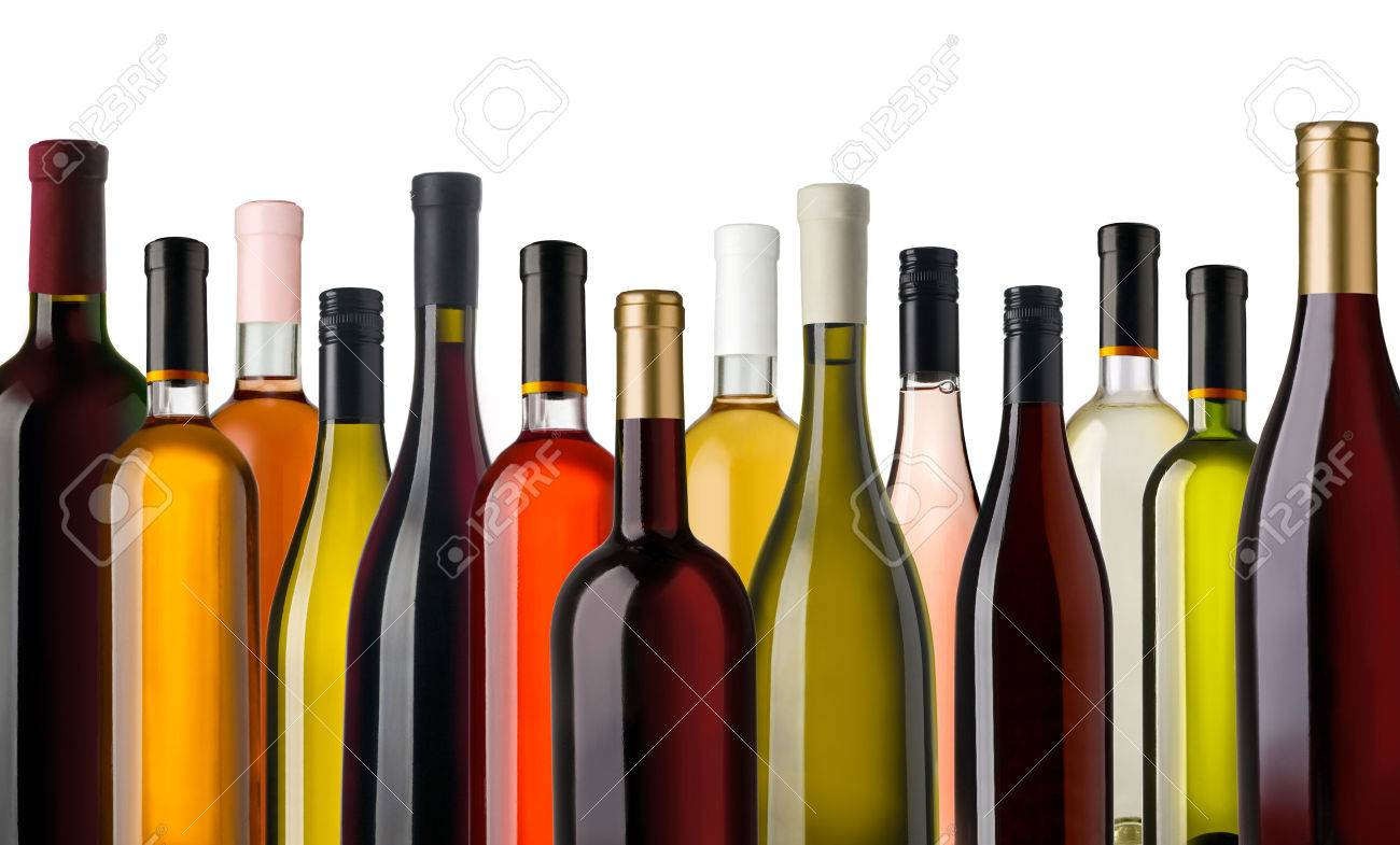 Some wine bottles in front of white background - 55216124