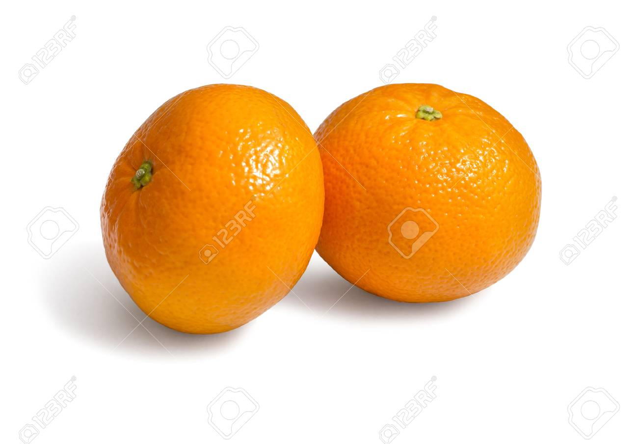 Fresh ecological clementines on a white background with clipping path - 60030267