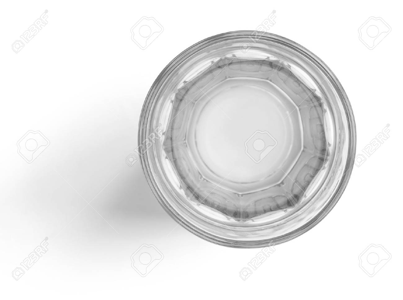 Top view of water glass cup on white background with clipping path - 63455819