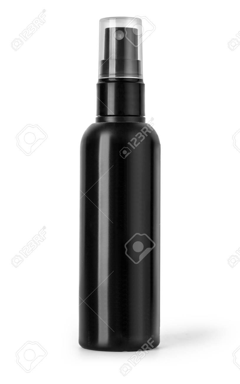 Black plastic bottle spray for hair on a white background. - 69573727
