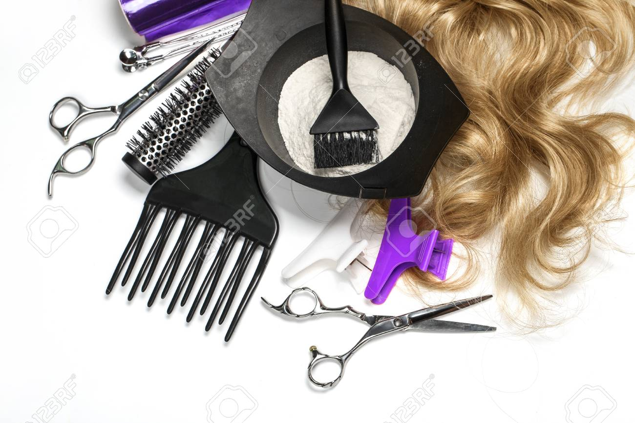 Hairdresser Accessories For Coloring Hair On A White Background ...