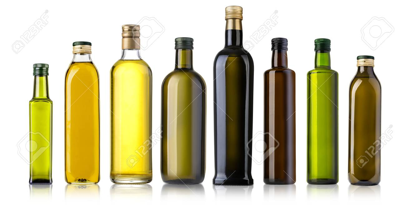 cd45b30bffea Olive oil bottles isolated on white background