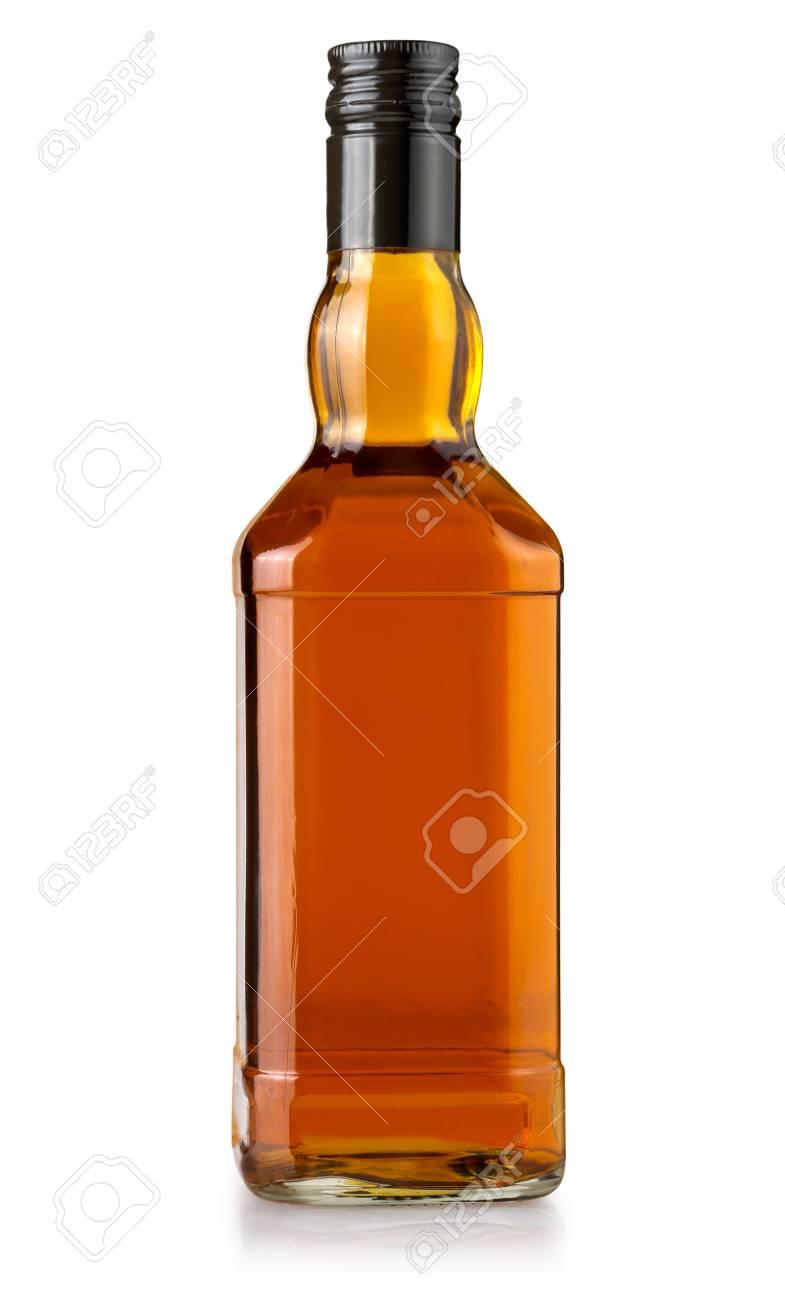 whiskey bottle blank on white background - 87177290