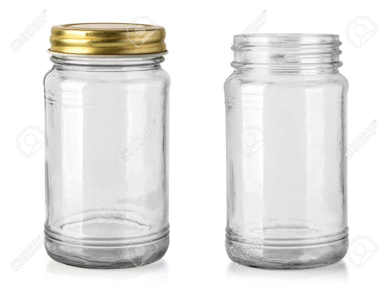 Empty glass jar isolated on white with clipping path - 117163502