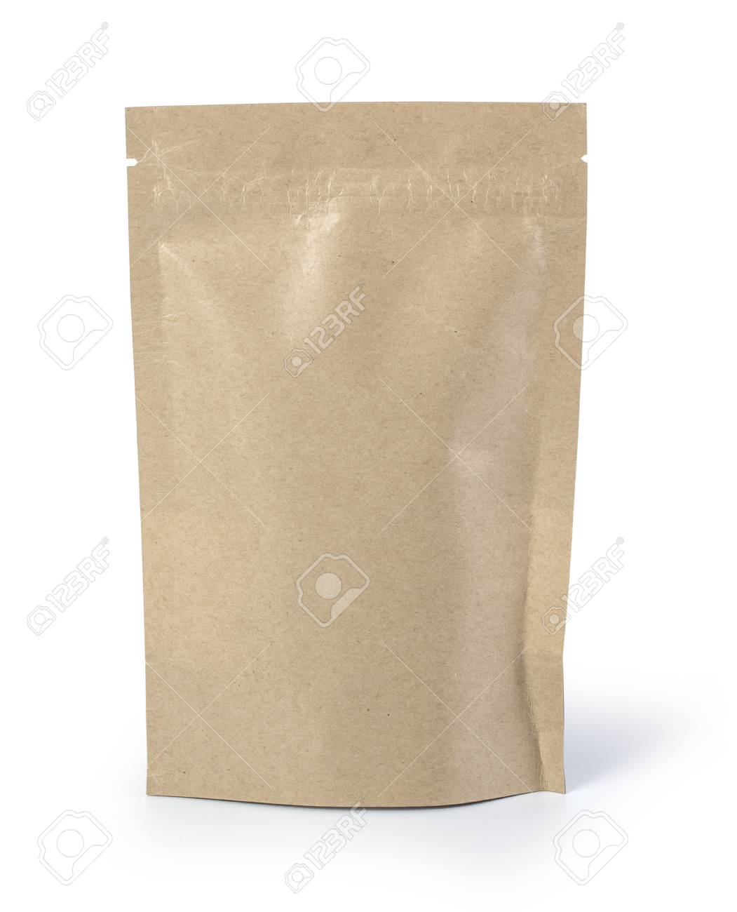 Brown paper food bag packaging with valve and seal - 125128204