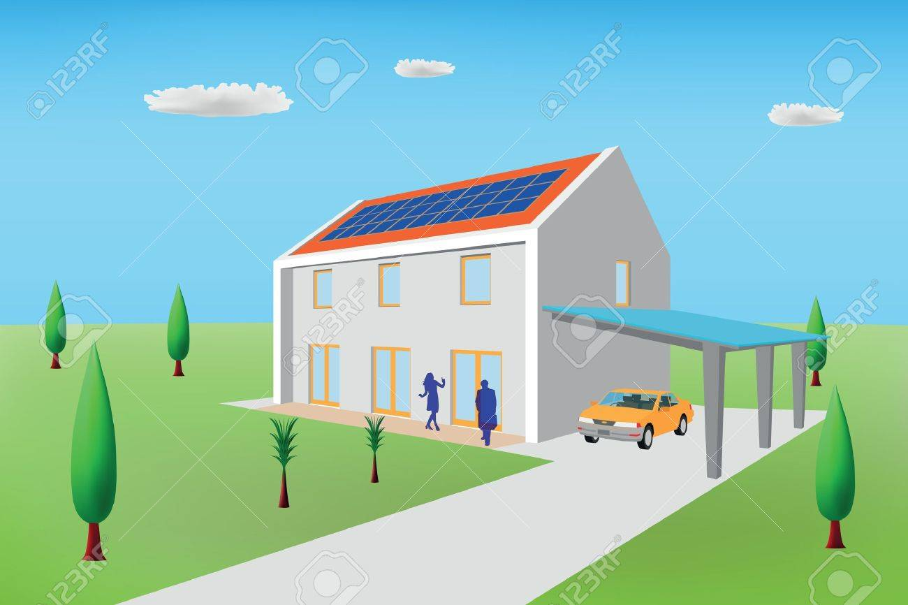 Passive house with photovoltaic panels Stock Vector - 9718095