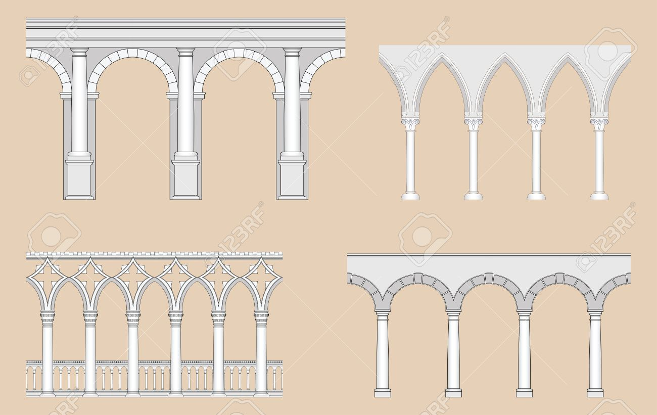 Arcades Roman Gothic Venetian Renaissance Stock Vector