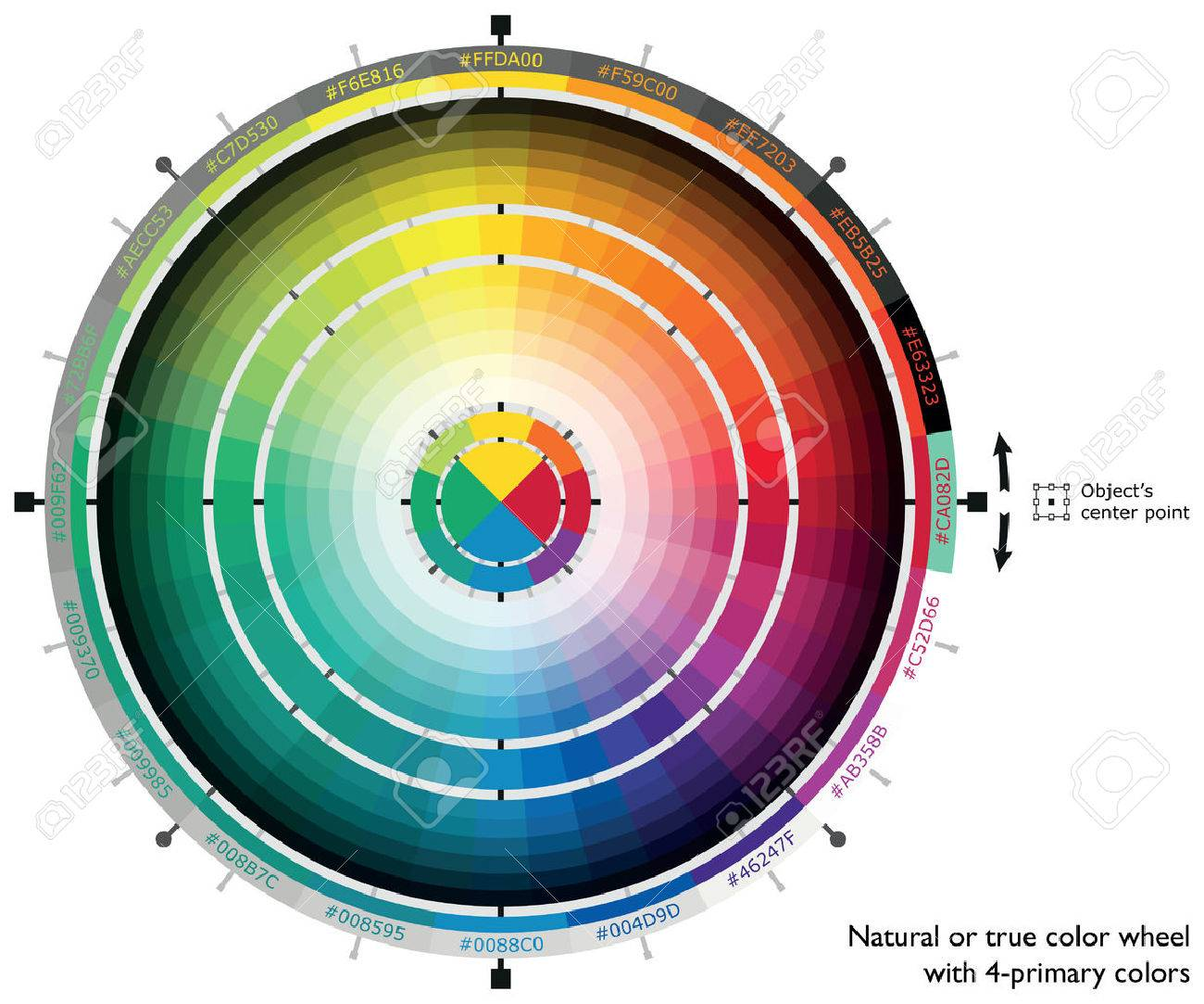 Natural or true color wheel with 4-primary colors for web artists and computer designers - 39142546