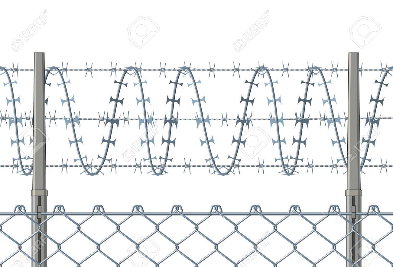 Horizontally Seamless Fence With A Razor Wire. Royalty Free Cliparts ...