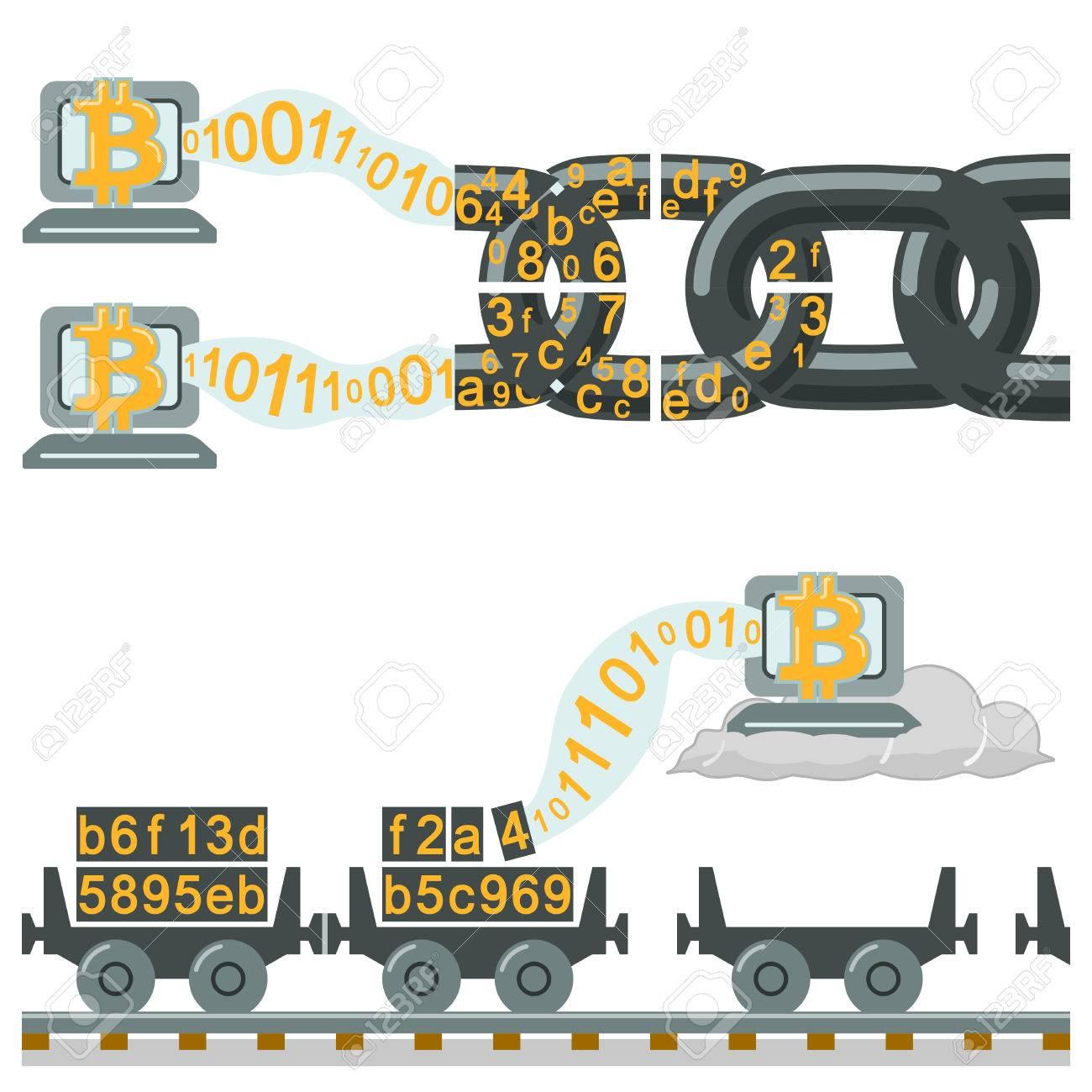 Blockchain technology as chain or railway wagons - 58705469