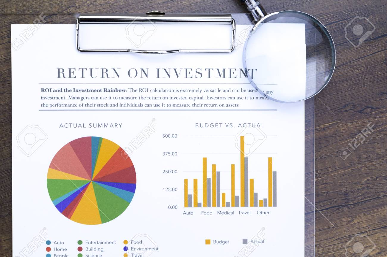 Return on investment analysis document with rainbow pie chart return on investment analysis document with rainbow pie chart graph and magnifing glass in flat layout nvjuhfo Image collections