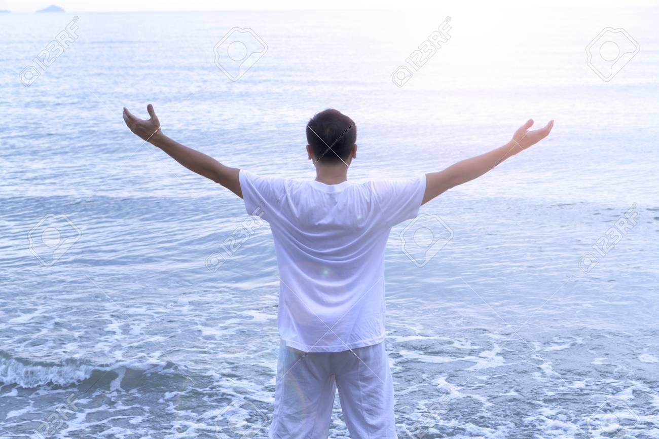 Asaian Senior Citizen Man In White Easy Dress Spending His Holiday
