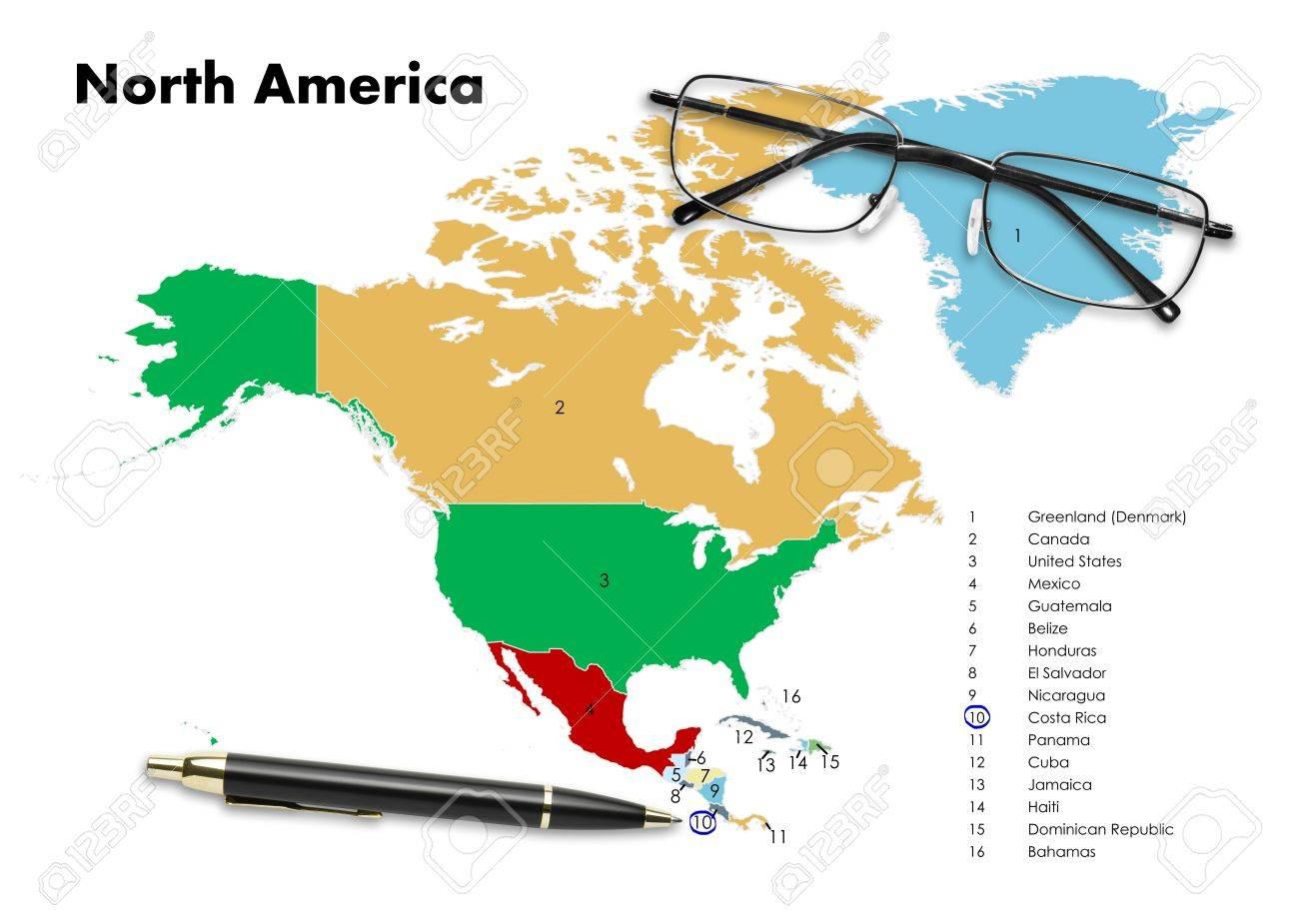 Carte Cuba Costa Rica.Costa Rica Sur La Carte Amerique Du Nord Avec Le Stylo Et Lunettes