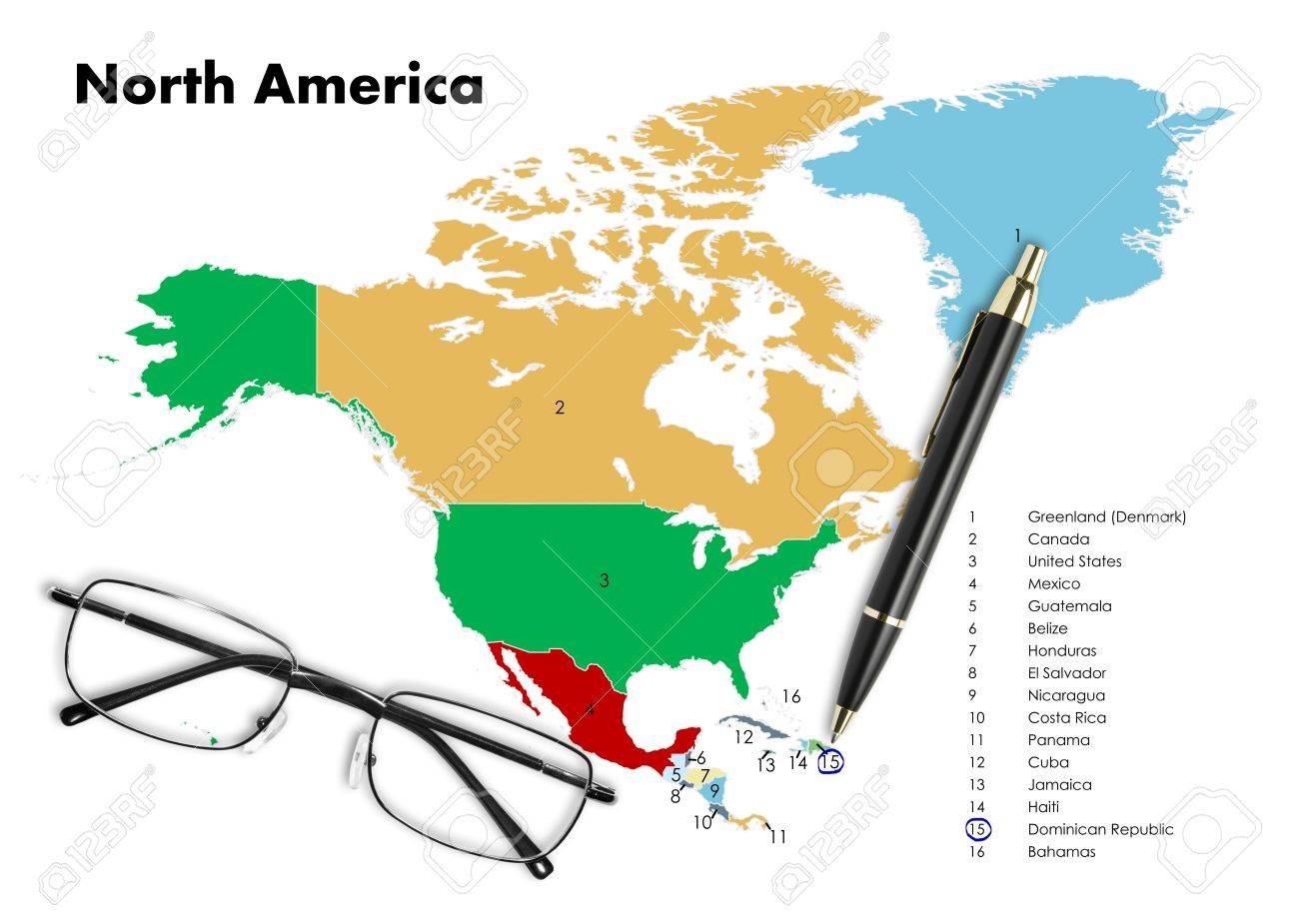Dominican Republic On Haiti On North America Map With Pen - Map of united states and dominican republic