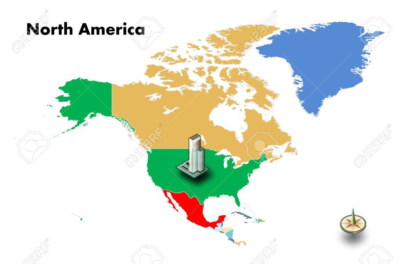 North Of Usa Map.High Building At Usa On North America Map Isolated
