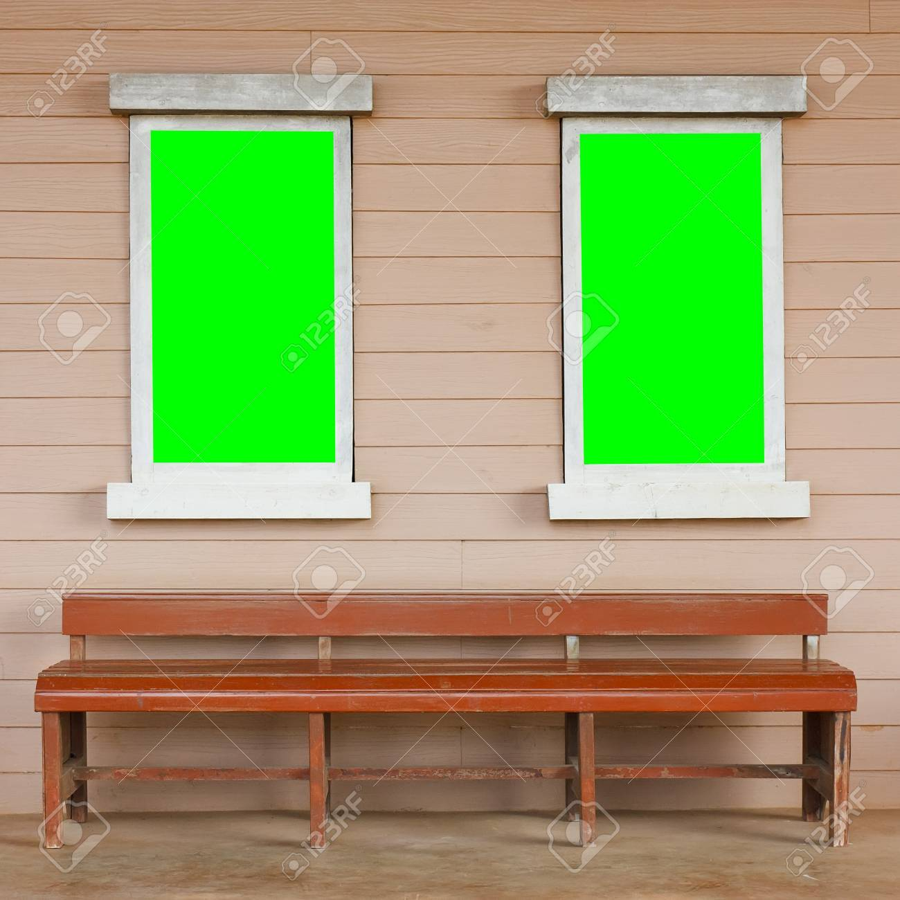 dual or two old wood white window with big green screen on the wall with long & Dual Or Two Old Wood White Window With Big Green Screen On The ...