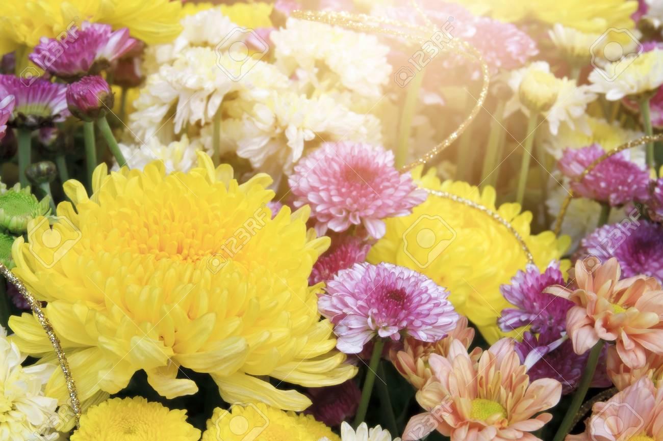 Beautiful Yellow Pink White And Orange Chrysanthemum Bouquet
