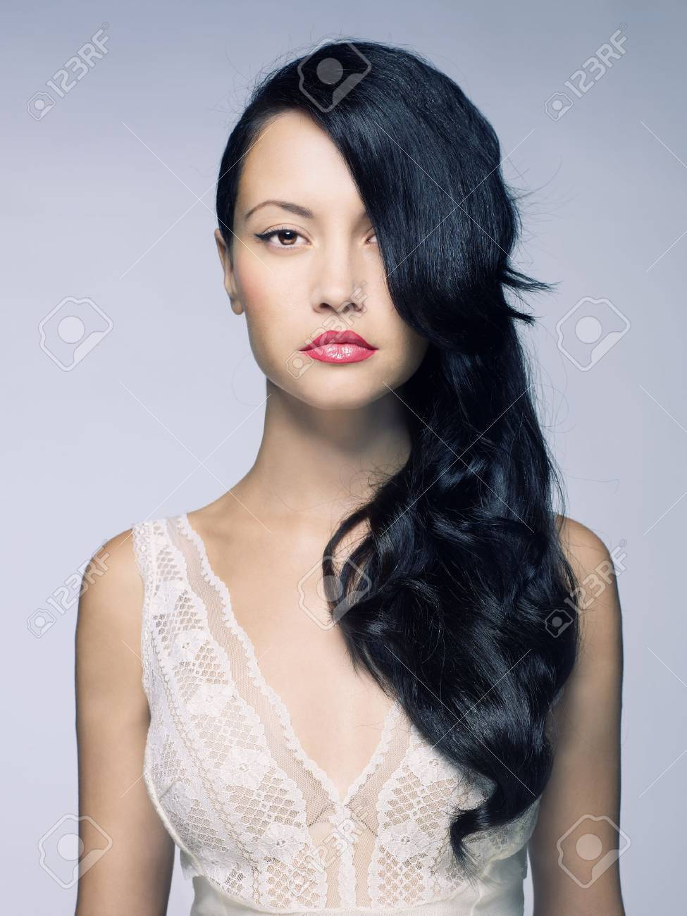 Photo of young beautiful lady with magnificent dark hair Stock Photo - 11567690