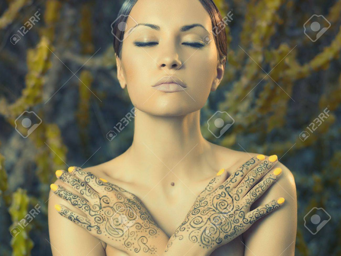 Beautiful young lady with painted hands mehendi Stock Photo - 17383542