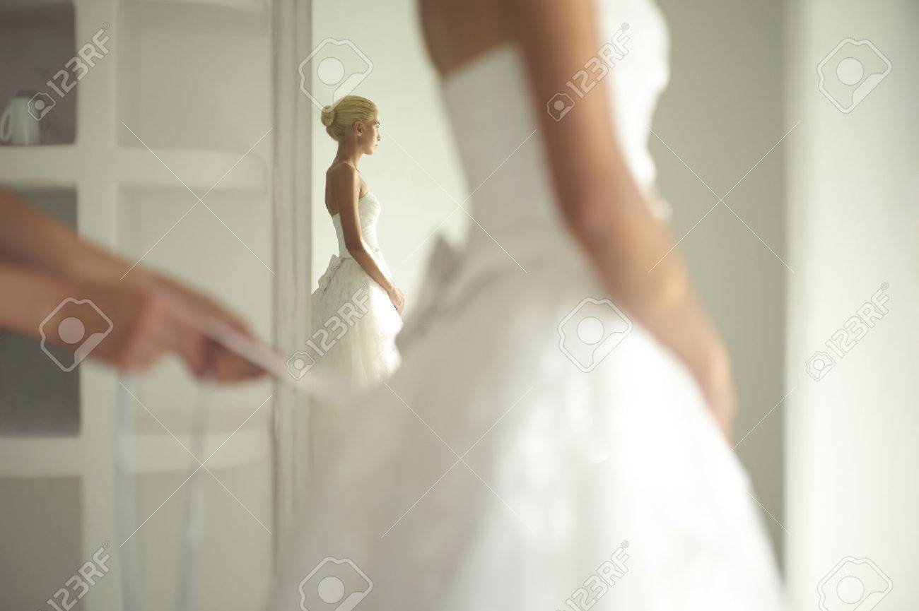 Art Photo Of A Beautiful Bride. Dressing Gowns Stock Photo, Picture ...