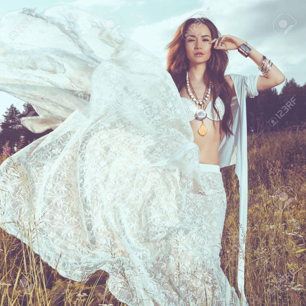 Outdoors Fashion Photo Of Beautiful Bohemian Lady Stock Photo ...