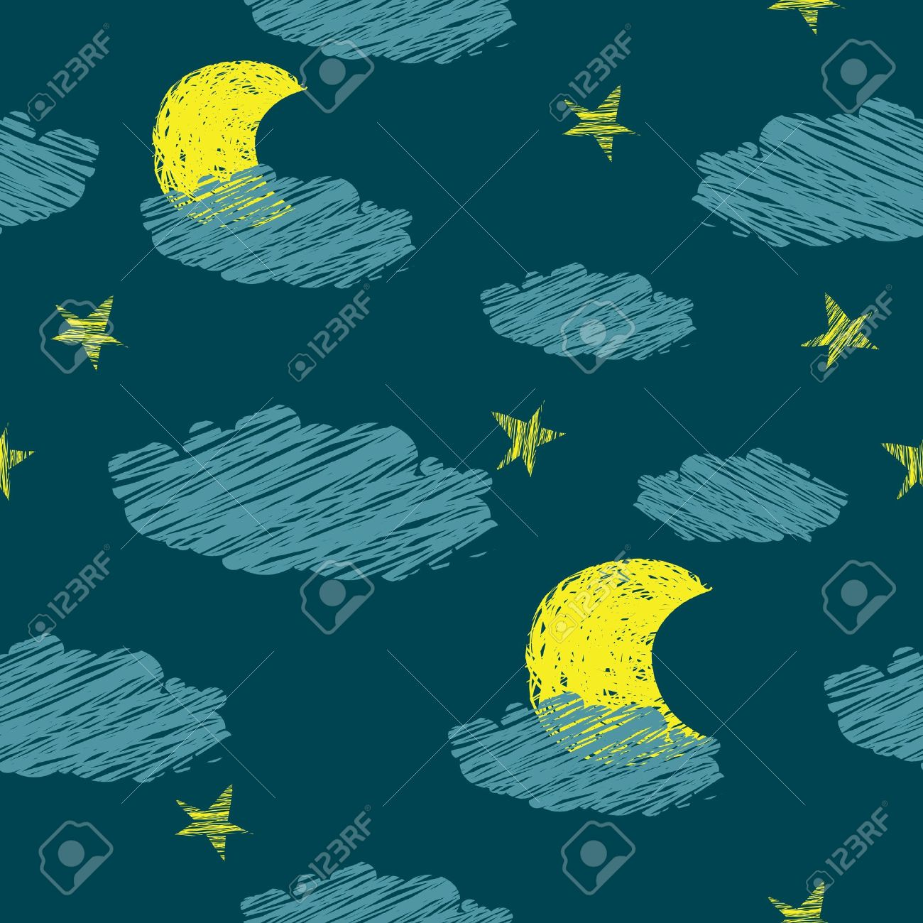 seamless pattern of the night sky the stars the moon Stock Vector - 13270081