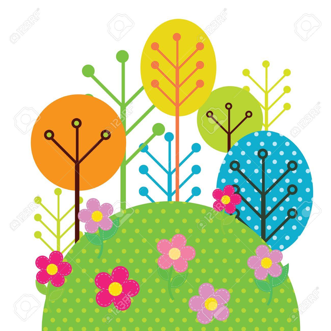Illustration of forest trees Stock Vector - 14387927