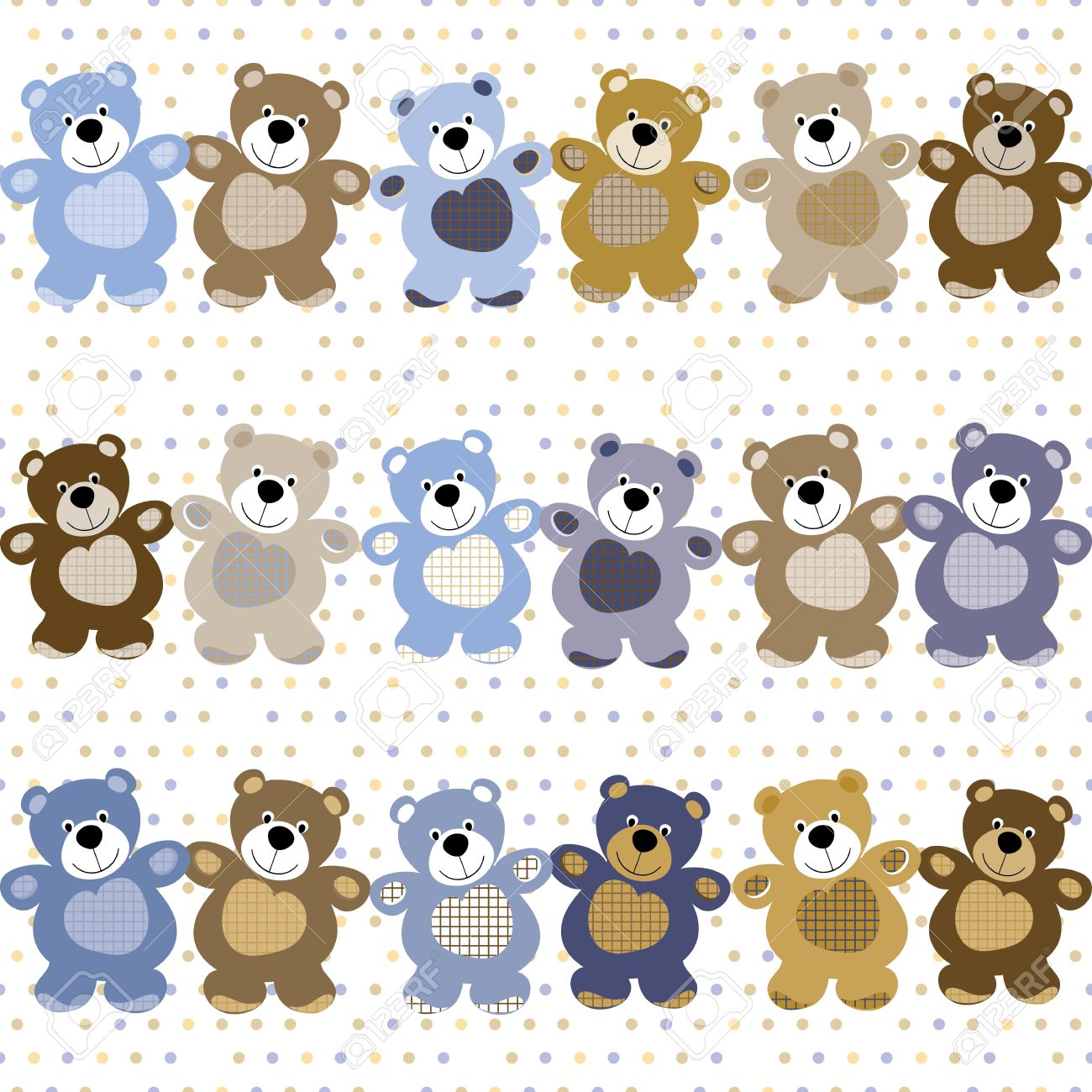 Vector seamless pattern of a toy teddy bear Stock Vector - 14600920