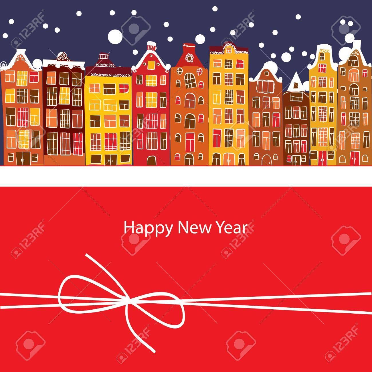winter city, New Year, vector illustration Stock Vector - 15504788