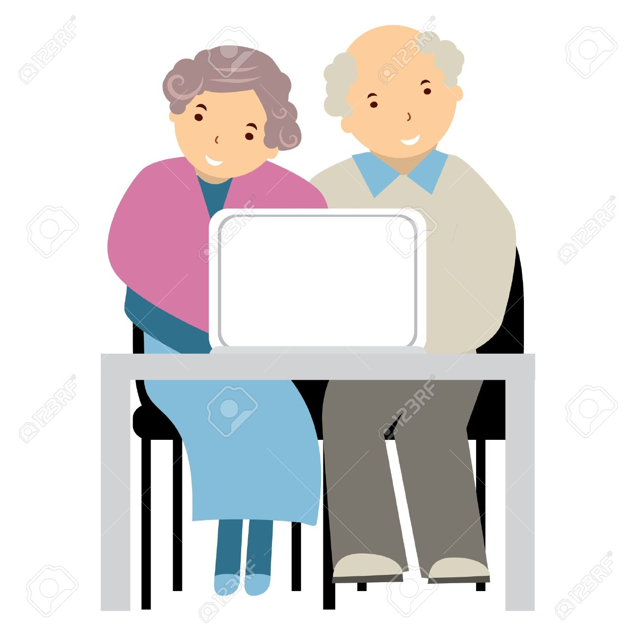 elderly people at a computer Stock Vector - 15842344