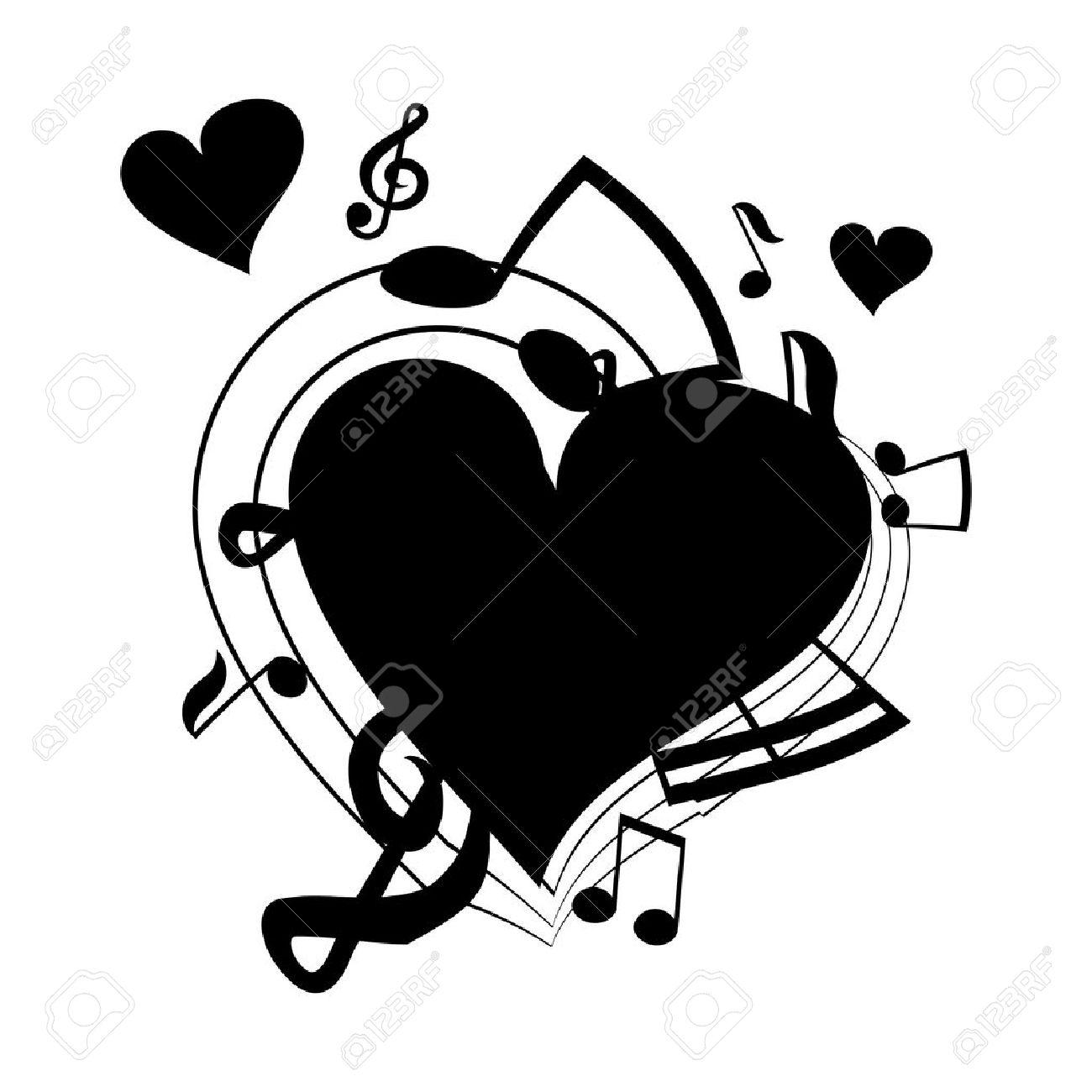 Ilustración Vectorial De Corazón Las Notas Musicales Ilustraciones